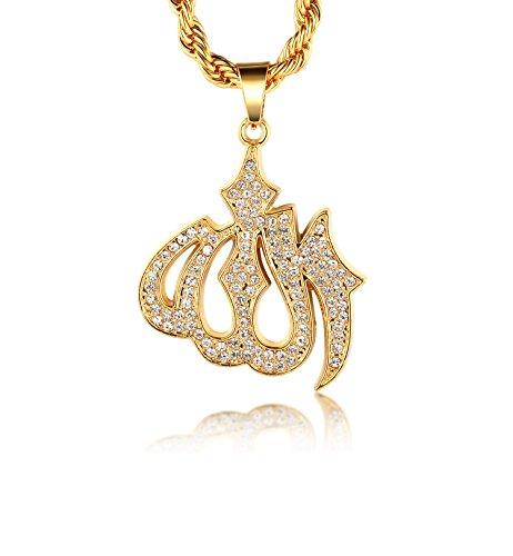 "Halukakah ● Gold Segne Alle ● 18k Reines Gold überzogen Allah Islam Symbol Anhänger Halskette mit Free Seil Kette 30"" Dick 2mm"