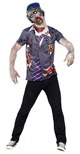 Zombie Schuljunge Kostüm - Smiffys, Herren Zombie-Schuljunge Kostüm, T-Shirt und Kappe, Größe: M, 44371
