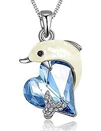 """Angelady """"Dolphin Love"""" Anhänger Halskette Schmuck für Muttertag Geschenk, Made mit Swarovski Kristall"""