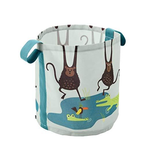 Panier de rangement en toile avec poignée, poubelle à jouets pliable, salle de jeux, panier à linge, panier à linge pour chambre de bébé (singe) 41 * 43cm