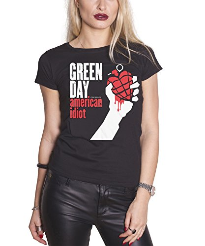 Green Day T Shirt American Idiot band logo Nue offiziell damen Skinny Fit - Hat Day Green