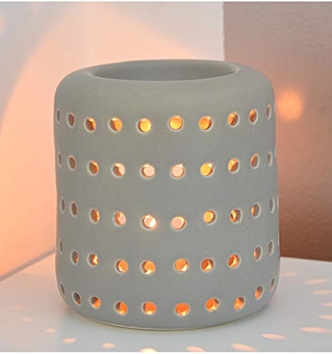 Artisanal handwerkliche Ancient Wisdom Windlicht Coliseo aus Keramik grau -