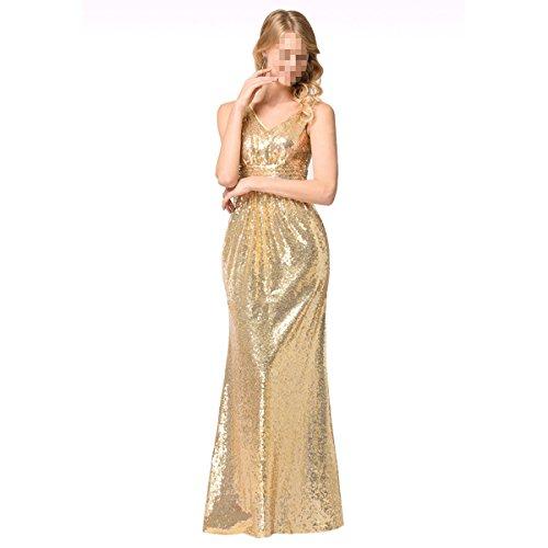 EALSN Frauen Pailletten Abend Party Kleider Sleeveless V-Ausschnitt Cocktail Lange Kleider,Gold-S