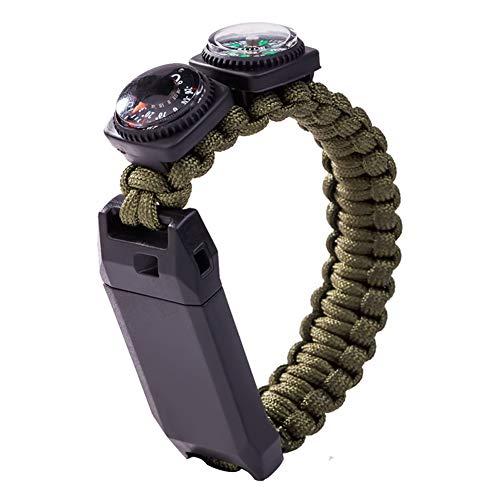 LTLSF Multifunktions Armband, Kompass Thermometer Pfeife Outdoor überleben Camping Wandern Regenschirm Seil Armband, Tragbar Für Männer Und Frauen (Eine Richtung-seil-armbänder)