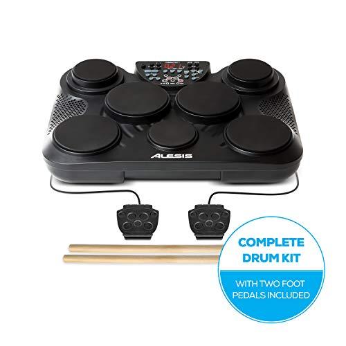 Alesis CompactKit 7-ultramobiles elektronisches Tabletop-Drum-Kit mit 7 anschlagdynamischen Drum-Pads,265 Drum-Sounds,USB-MIDI-Ausgang,Stromversorgung über Batterie oder Netzteil,mit Drum-Sticks