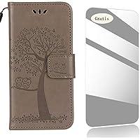 THRION Sony Xperia E5 Funda, Patrón de búho y árbol PU Cuero Funda[Tapa para Tarjetas][Gratuito Protector de Pantalla de Vidrio Templado ]para Sony Xperia E5 - Gris