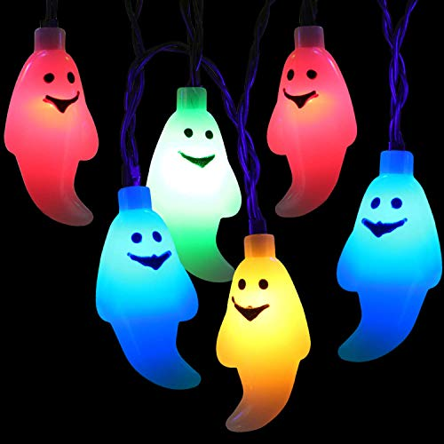 BrizLabs Luci Stringa Halloween, 30 LED Fantasma Catena Luminosa 3m, Luci Della Stringa a Batteria Alimentate 3D Decorazione di Halloween per Natale Matrimonio Festa Giardino Cosplay, Multicolore