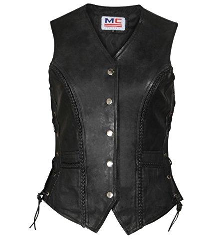 Motorrad/Biker Weste für Damen, aus echtem Leder und mit Schnüren auf Seiten. Gr. Large, schwarz