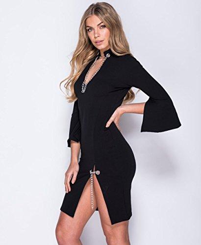 Ladies Flare Sleeve Chain Detail Bodycon Dress EUR Taille 36-42 Noir