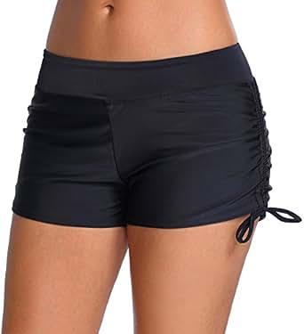 OLIPHEE Women's Solid Waistband Bikini Bottom Boy Shorts Drawstring Swimming Panty Black S