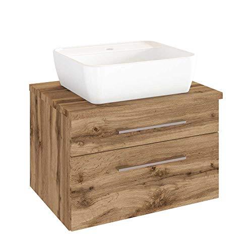 #Pharao24 Schbuladen Waschtisch mit Aufsatz-Waschbecken Wildeiche Dekor#