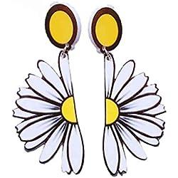 Pendientes pendientes del perno prisionero de la flor grande de la margarita de las mujeres Pendientes pendientes 8x3.3cm del oído de la exageración Bobury