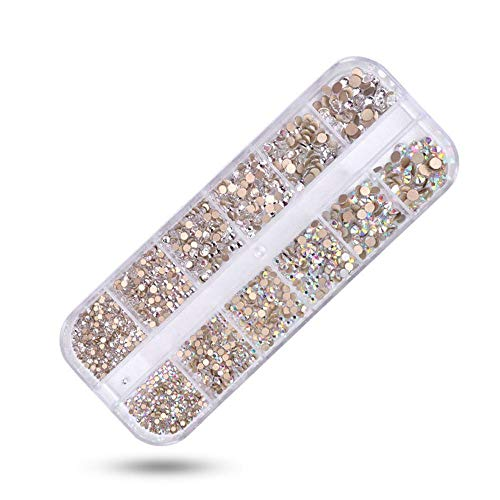 1440 pz nail decorations, nail jewelry and decorations 3d multi-colored nail pietre e gemme nail art rhinestones crystals ab misto con 12-bar long box