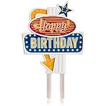 Suck Uk Decorazione retrò in stile insegna al neon di Las Vegas per torte di compleanno. Attivando il pulsante le insegne si illuminano in sequenza. Riutilizzabile per molteplici compleanni.