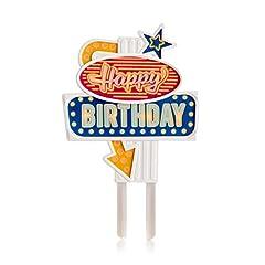 Idea Regalo - Suck Uk Decorazione retrò in stile insegna al neon di Las Vegas per torte di compleanno. Attivando il pulsante le insegne si illuminano in sequenza. Riutilizzabile per molteplici compleanni.