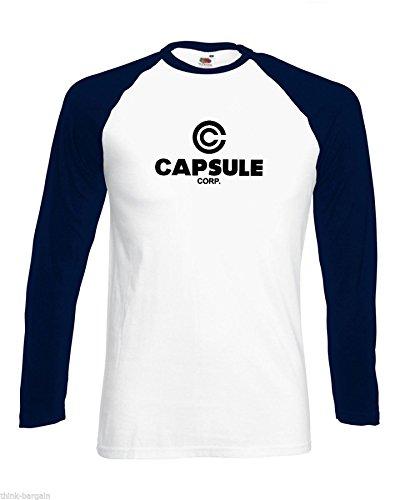 Capsule Corp Herren Tshirt Gesellschaft Lange Hülse Baseball Weiß Tief Marine Arme