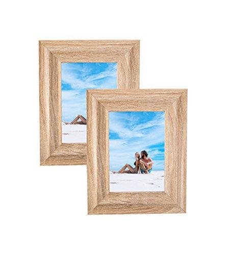 lz Modernes Bilderrahmen Foto Display mit Glas Front, Staffelei Rückseite, und Aufhängen Clip (Set) Modern 4x6 (Set of 2) Holz ()