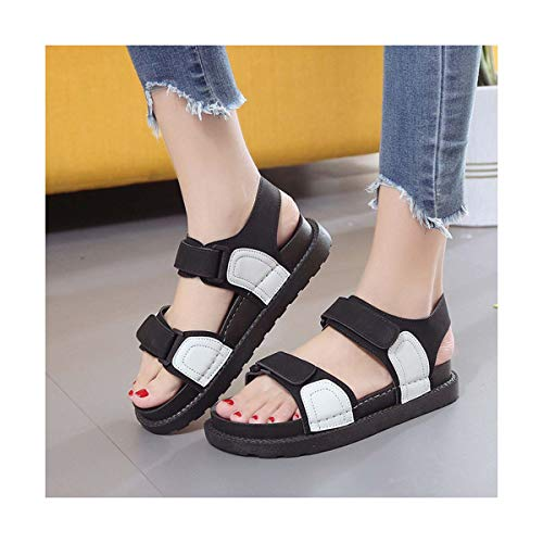 Leisure Open Toe Flat with Platform Sandals Women Med Front Rear Strap Ladies Shoes Platform Basic Sandals White 40