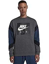 Nike M NSW Air Crew FLC Sudadera, Hombre, Charcoal Heather/Nero/Obsidian