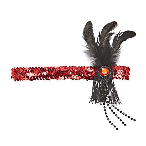 Diadema Pluma Cinta Pelo Halloween Rojo Negro Accesorio