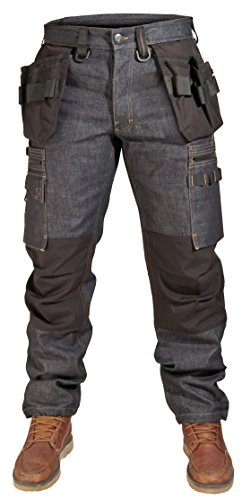 Dunderdon Workwear P12 Raw Denim Bundhose, dunkles Denim, W34 L32