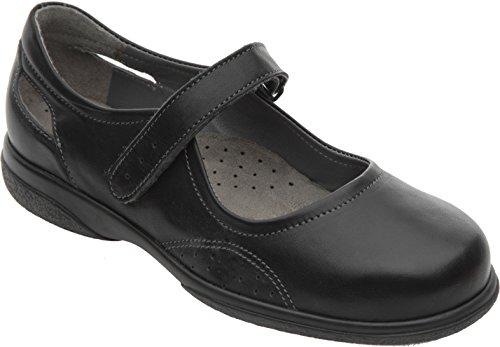 Cosyfeet Paradise Schuhe - Besonders Geräumig/Extra Roomy (Breite Passform M+ Euro/5E+ Width Fitting UK) - Schwarz, Leder - 38.5 (Fuß Breite Schuh Width)