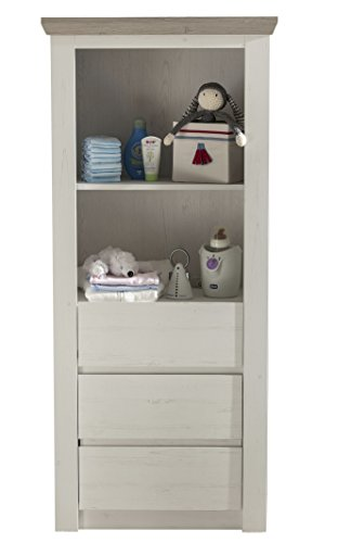 Preisvergleich Produktbild trendteam NBZ66157 Regal Schrank Kinderzimmer Weiß Pinie Nachbildung, Absetzungen Pinie dunkel Struktur, BxHxT 67x150x38 cm