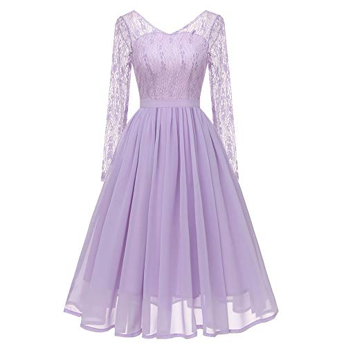 MIRRAY Damen Langarm Vintage Prinzessin Blumenspitze Cocktail V-Ausschnitt Party Aline Swing Kleid (Halloween Size Plus Puppe Kostüm)