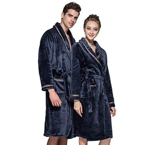 Koly lovers intimo invernale donna uomo sleepwear accappatoio in peluche indumenti da notte allungabili home clothes robe coat (marina militare, m)