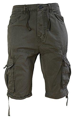 da-uomo-crosshatch-oprah-twill-ginocchio-lunghezza-button-up-pantaloncini-cargo-combat-pantaloni-bun