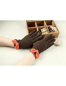 QKR&bellissimi guanti L'autunno e l'inverno Signorina lana maglieria tutti i mezzi guanti sezione sottile inverno...
