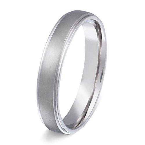 Juwelier Schönschmied - Unisex Elegant Partnerring Ehering Verlobungsring Kostenlose Gravur Narrow Edelstahl inkl. persönliche Wunschgravur 66 (21.0) Nr1H