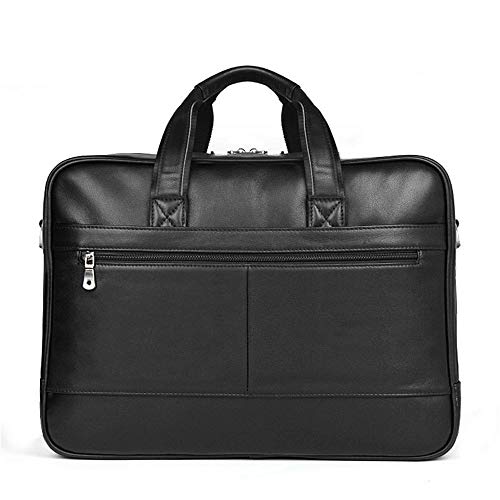 Chengzuoqing Laptoptasche Aktentasche aus Leder Top-Zip Laptop Messenger Bag Schwarz für 17