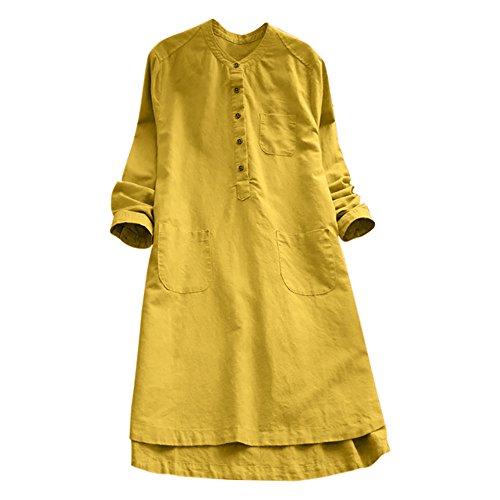 VJGOAL Damen Kleid, Damen Lässige Retro-Baumwolle und Leinen Knopf Lange Tops Bluse Lose Lange Ärmel Mini Hemd Kleid (Gelb, 42)