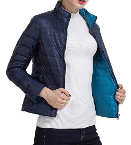 Bigood Femme Manteau Duplex Courte Jacket Doudoune Duvet Blouson Chaud Haute Qualité Parka Rembourré Pour Hiver Bleu