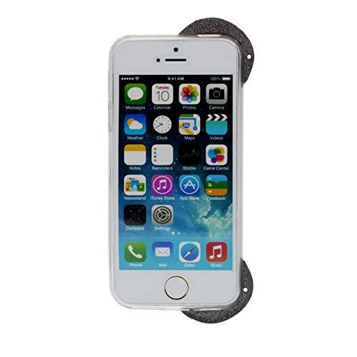 iPhone 5S Hülle iPhone SE Hülle Weich Dünn Licht Transparent TPU Gel Schutzhülle Cover für Apple iPhone 5 5S SE 5G Niedlich Panda Gestalten Case Bumper mit 1 Silikon Halter schwarz