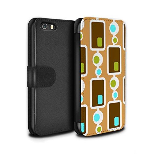 STUFF4 PU-Leder Hülle/Case/Tasche/Cover für Apple iPhone 5/5S / Sechziger Jahre/1960 Muster / Dekade Muster Kollektion Siebziger Jahre/1970