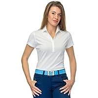 FLORINDA Basic Mujer Golf Camiseta 100% Pima de algodón jersey, mujer, blanco