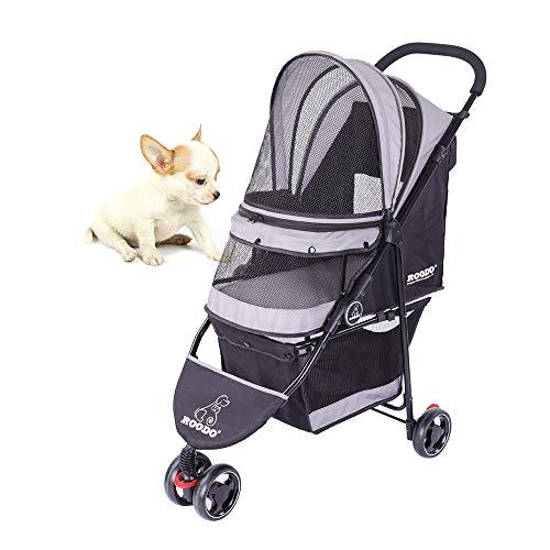 SeedFuture Haustier-Kinderwagen mit 3 Rädern, für Katzen und Hunde, zusammenklappbar