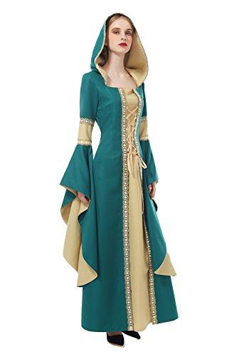 Damen Mittelalterliches kleid Langarm Maxi Kleid Party Kostüm (Grün, M) (Licht Renaissance-9)