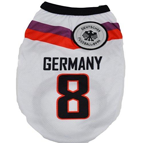 KayMayn Pet Jersey Football Lizenzprodukt Hund Jersey, kommt in 6Größen, Hund Kleidung Shirt Hunde Kostüm National Fußball-Weltmeisterschaft, Outdoor Sportswear Sommer Atmungsaktiv S Deutschland