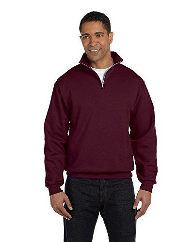 Adult 8 oz. NuBlend� Quarter-Zip Cadet Collar Sweatshirt MAROON M -