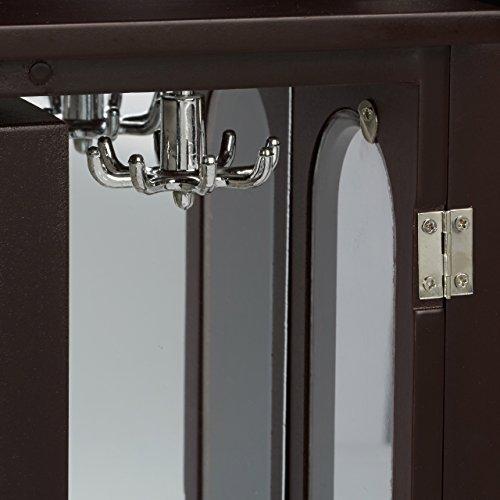 Relaxdays Schmuckkästchen mit Tür HxBxT: ca. 30 x 26 x 11 cm großer Schmuckkasten mit 4 Fächern Schmuckschrank aus Holz mit Schubladen und Spiegel Schränkchen mit Schmuckhalter für Ketten, dunkelbraun - 7