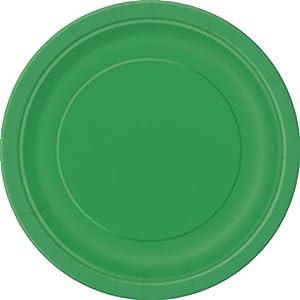 Unique Party -  Platos de Papel - 23 cm - Verde Esmeralda - Paquete de 8 (31855)