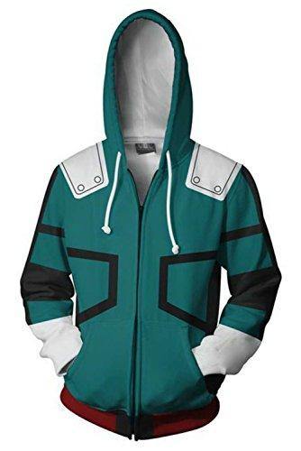 Xiemushop Jacke Kapuzenpullover Sweatshirt Kostüm Reißverschluss Mantel-Boku No Hero Academia My Hero Academia Izuku Midoriya Zip-up Hoodie mit Kapuze