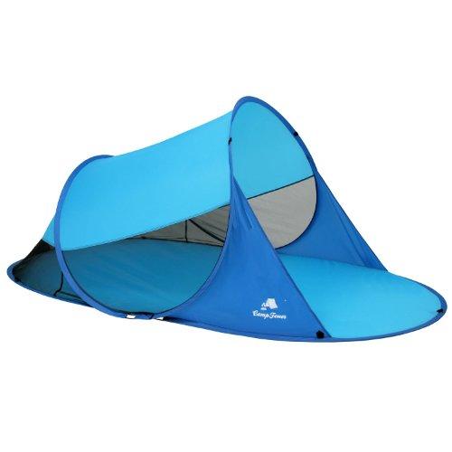 CampFeuer - Automatik Strandmuschel, UV50+, Pop Up Strand Zelt, beach tent (Blau/Hellblau)