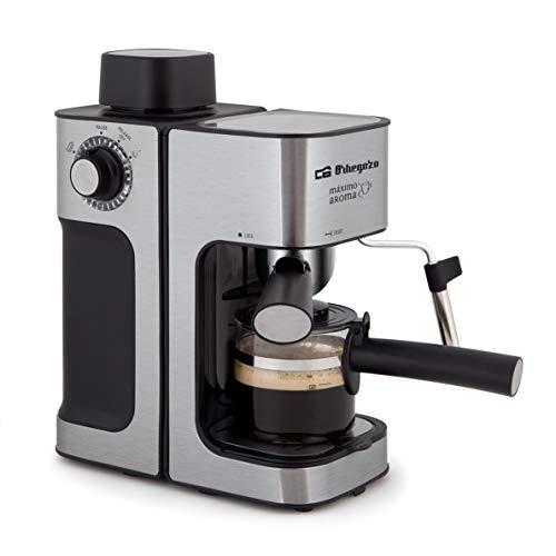 Orbegozo EXP 5000 - Cafetera presión, capacidad de 2 a 4 tazas, vaporizador, incluye jarra de cristal, acero inoxidable