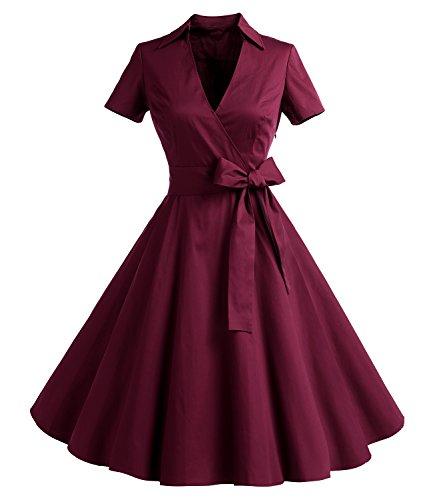 Timormode Rockabilly kleid 50s Polka Dot Weiß Cocktail Kleid Vintage Kleid Kurze Ärmeln TM10084 Burgundy L (Kleider-stil)