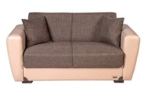Enrico coveri contemporary divano letto 2 posti beige e marrone, elegante con funzione letto in tessuto ed ecopelle, dimensioni: 162 x 85 x 83 cm