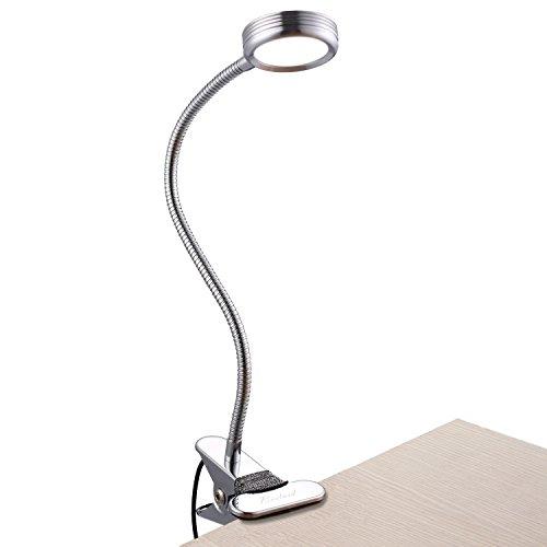 Clip Light Eye Schutz Wechselrahmen Book Light LED Lesung Schreibtisch Lampe Klemme auf Lichter für Bett neben 3W 3Farben dimmbar USB geladen mit flexibler Schwanenhals Modern silber